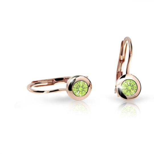 Pendientes de niña Danfil C1537 oro rosa, Peridot Green, cierre de pala