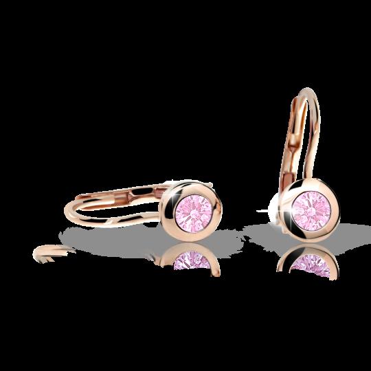 Pendientes de niña Danfil C1537 oro rosa, Pink, cierre de pala