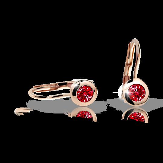 Pendientes de niña Danfil C1537 oro rosa, Ruby Dark, cierre de pala