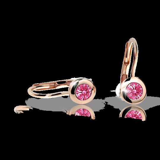 Pendientes de niña Danfil C1537 oro rosa, Tcf Red, cierre de pala