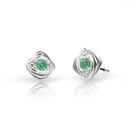 Pendientes de niña Danfil C1897 oro blanco, Emerald Green, cierre de rosca