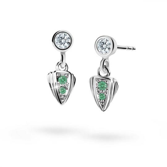 Pendientes de niña Danfil C1899 oro blanco, Emerald Green, cierre de presión