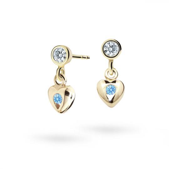 Pendientes de niña Danfil corazones C1556 oro amarillo, Arctic Blue, cierre de presión