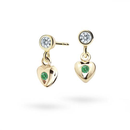 Pendientes de niña Danfil corazones C1556 oro amarillo, Emerald Green, cierre de presión