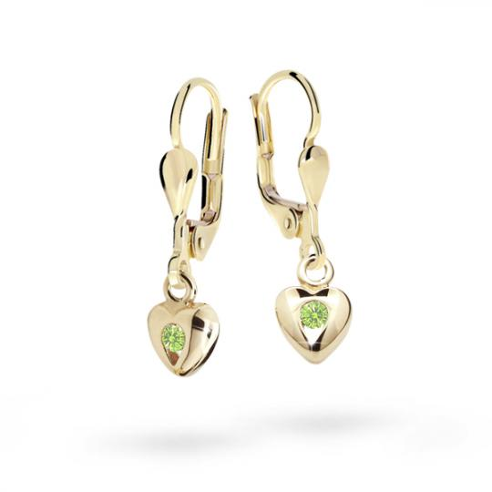 Pendientes de niña Danfil corazones C1556 oro amarillo, Peridot Green, cierre de pala