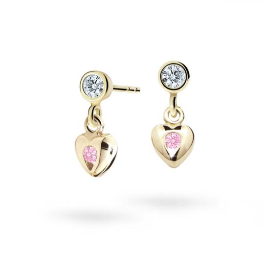 Pendientes de niña Danfil corazones C1556 oro amarillo, Pink, cierre de presión