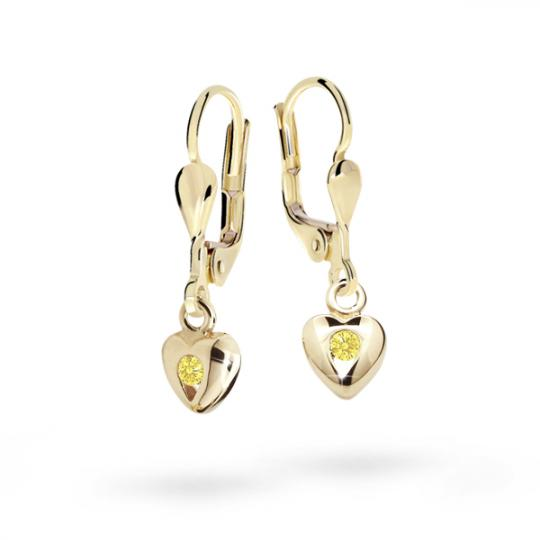 Pendientes de niña Danfil corazones C1556 oro amarillo, Yellow, cierre de pala