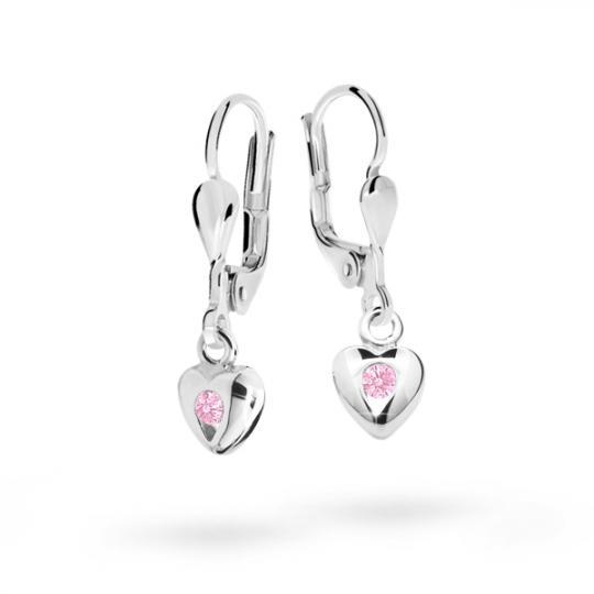 Pendientes de niña Danfil corazones C1556 oro blanco, Pink, cierre de pala