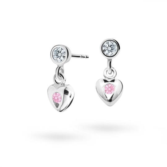Pendientes de niña Danfil corazones C1556 oro blanco, Pink, cierre de presión
