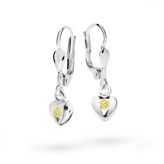 Pendientes de niña Danfil corazones C1556 oro blanco, Yellow, cierre de pala