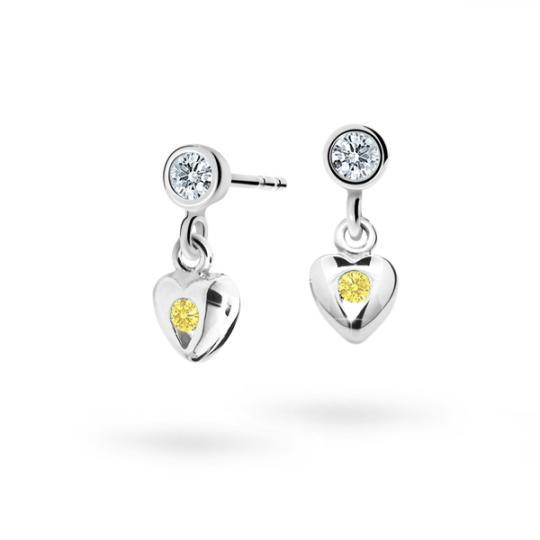 Pendientes de niña Danfil corazones C1556 oro blanco, Yellow, cierre de rosca