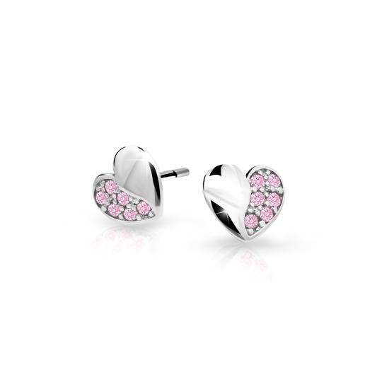Pendientes de niña Danfil corazones C2160 oro blanco, Pink, cierre de rosca