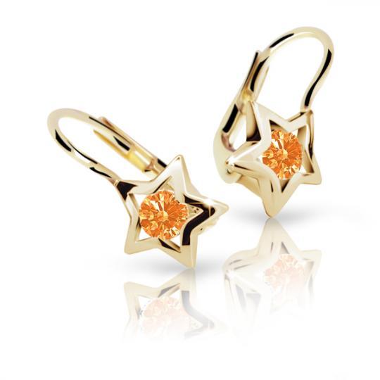 Pendientes de niña Danfil estellas C1942 oro amarillo, Orange, cierre de pala