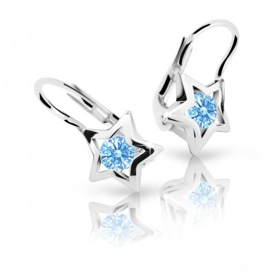Pendientes de niña Danfil estellas C1942 oro blanco, Arctic Blue, cierre de pala