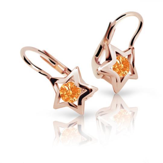 Pendientes de niña Danfil estellas C1942 oro rosa, Orange, cierre de pala