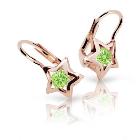 Pendientes de niña Danfil estellas C1942 oro rosa, Peridot Green, cierre de pala