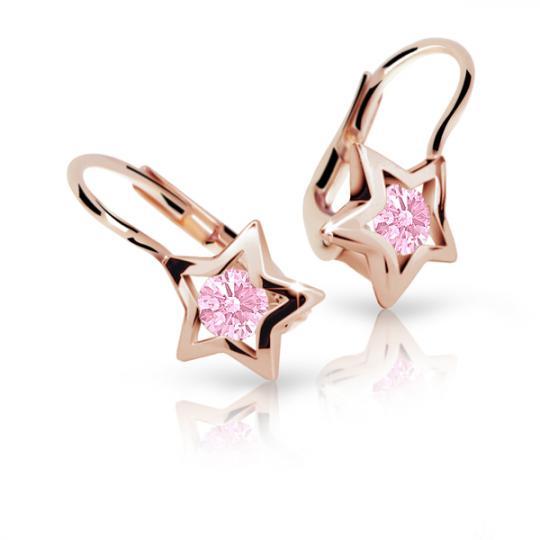 Pendientes de niña Danfil estellas C1942 oro rosa, Pink, cierre de pala