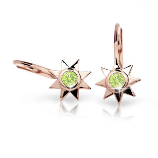 Pendientes de niña Danfil estellas C1995 oro rosa, Peridot Green, cierre de pala