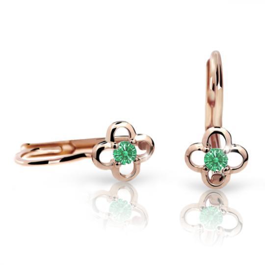 Pendientes de niña Danfil flores C1944 oro rosa, Emerald Green, cierre de pala