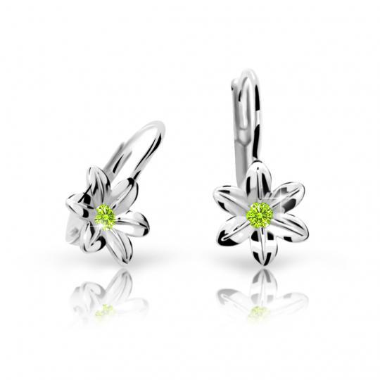 Pendientes de niña Danfil flores C1993 oro blanco, Peridot Green, cierre de pala