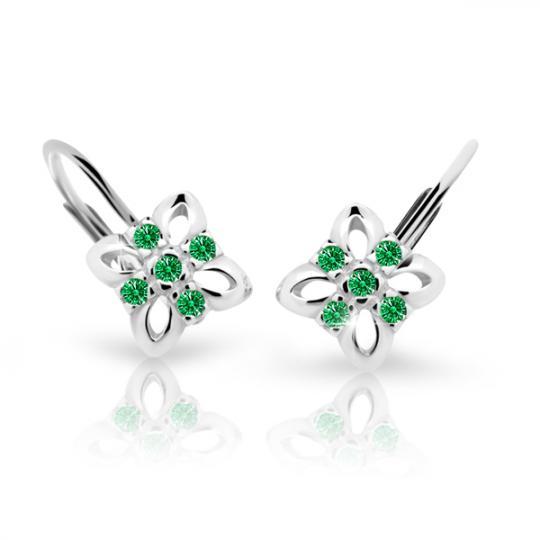 Pendientes de niña Danfil flores C2215 oro blanco, Emerald Green, cierre de pala