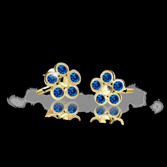 Pendientes de niña Danfil flores C2744 oro amarillo, Dark Blue, cierre de rosca