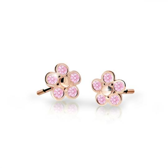 Pendientes de niña Danfil flores C2744 oro rosa, Pink, cierre de rosca
