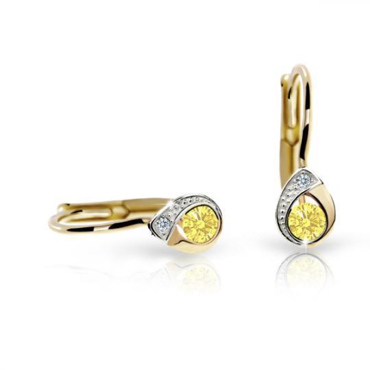 Pendientes de niña Danfil gotas C1898 oro amarillo, Yellow, cierre de pala
