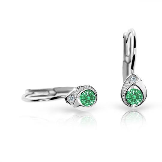 Pendientes de niña Danfil gotas C1898 oro blanco, Emerald Green, cierre de pala