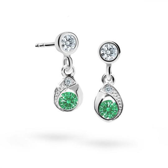 Pendientes de niña Danfil gotas C1898 oro blanco, Emerald Green, cierre de presión