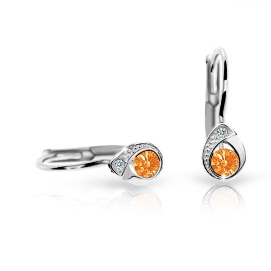 Pendientes de niña Danfil gotas C1898 oro blanco, Orange, cierre de pala