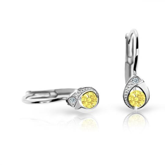 Pendientes de niña Danfil gotas C1898 oro blanco, Yellow, cierre de pala