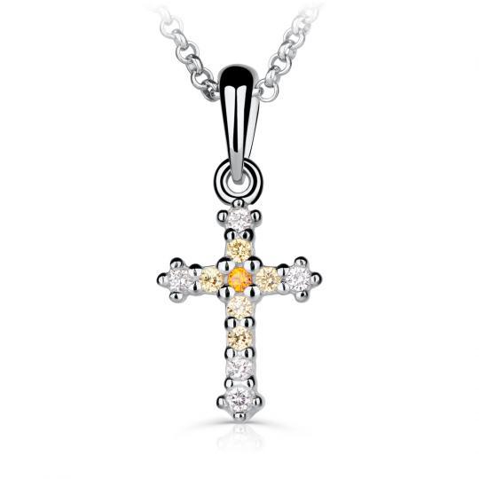 Přívěšek pro maminku Danfil křížek C5078 z bílého zlata