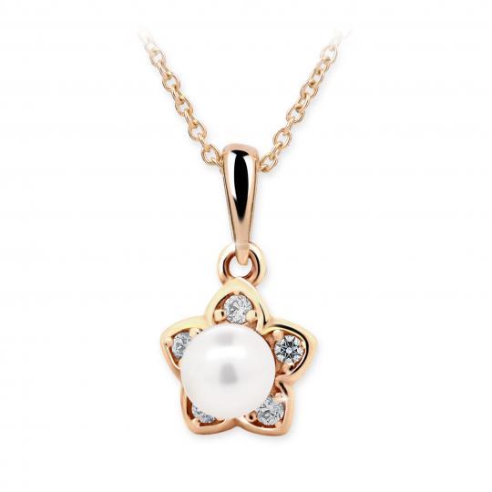 Wisiorek Danfil C2387 w kolorze różowego złota z perłą