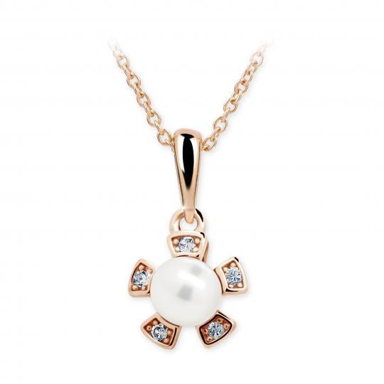 Wisiorek Danfil C2395 w kolorze różowego złota z perłą