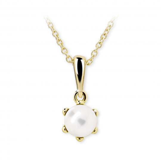 Wisiorek Danfil C2482 z perłą z żółtego złota