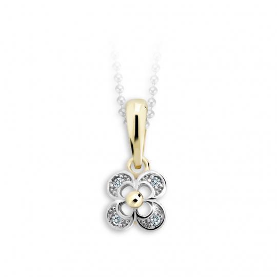 Wisiorek dla dzieci Danfil Kwiat C2200 z żółtego złota z cyrkonią