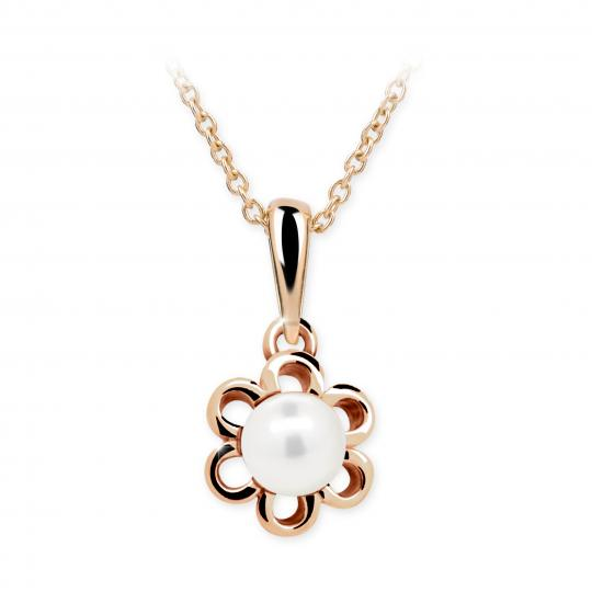 Wisiorek z różowego złota Danfil C2406 z perłą