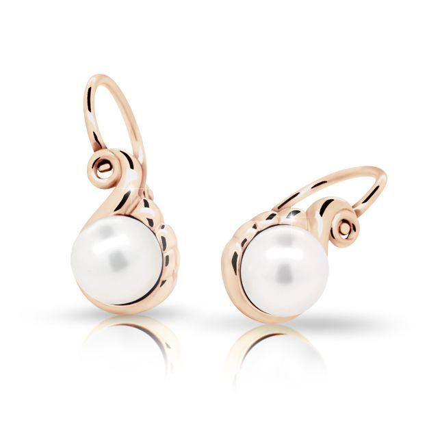 Baby Earrings Danfil C2408 Rose Gold With Pearls Front Backs Danfil Co Uk