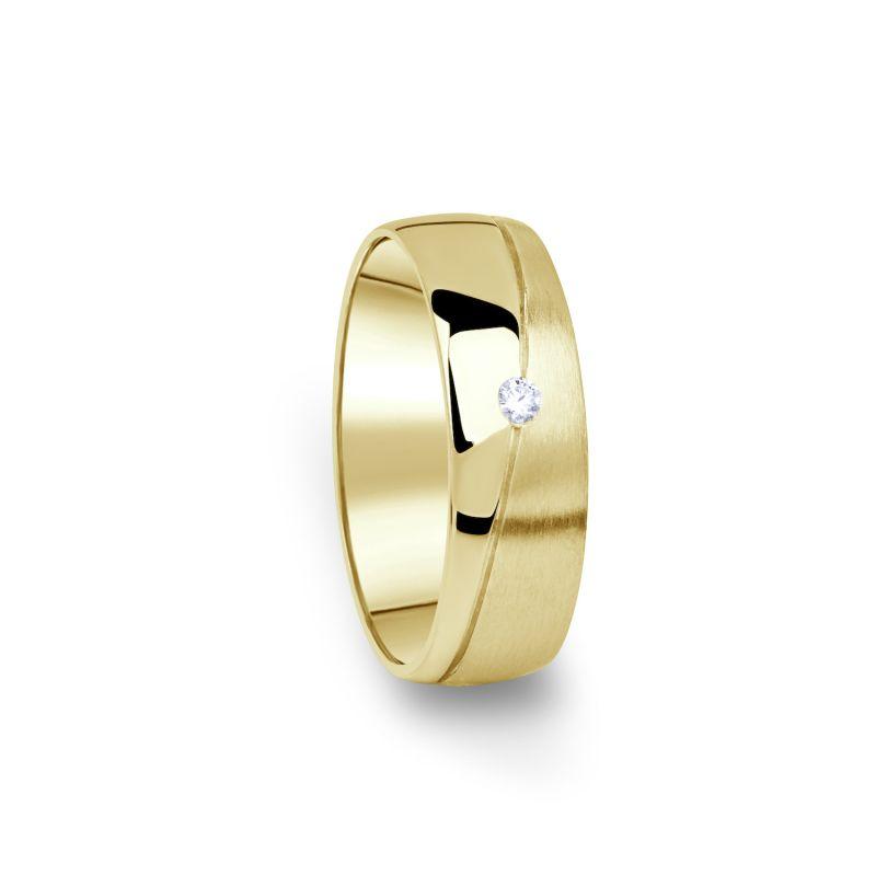 Zlatý dámský snubní prsten DF 01/D ze žlutého zlata, s briliantem