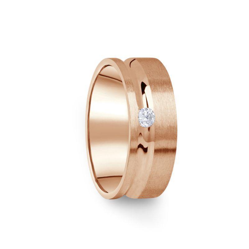 Zlatý dámský prsten DF 07/D z růžového zlata, s briliantem