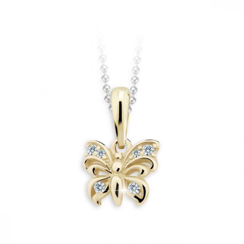 Dětský přívěsek Danfil motýlek C2226 ze žlutého zlata s kamínky White