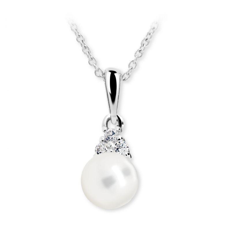 Dětský přívěsek s perlou Danfil C2235 z bílého zlata, přírodní sladkovodní perla